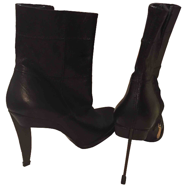 Karl Lagerfeld Black Leather Ankle Boots