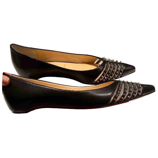 Christian Louboutin Black Leather Flats
