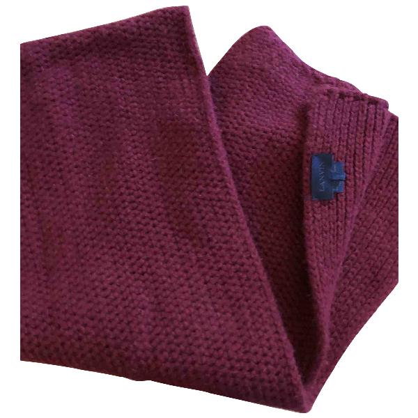 Lanvin Burgundy Wool Scarf & Pocket Squares