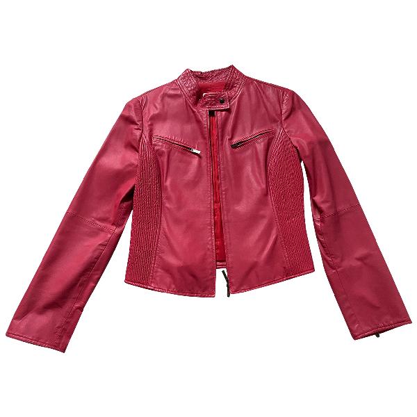 Armani Collezioni Red Leather Leather Jacket