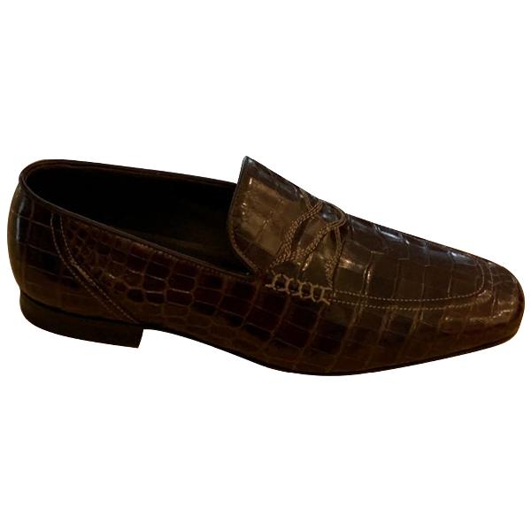 Bottega Veneta Brown Crocodile Flats