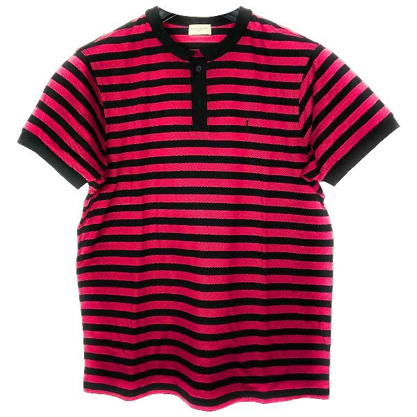 Saint Laurent Red Cotton Polo Shirts