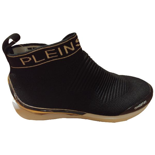 Philipp Plein Black Cloth Trainers
