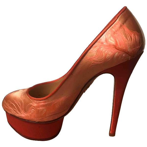 Charlotte Olympia Dolly Orange Leather Heels