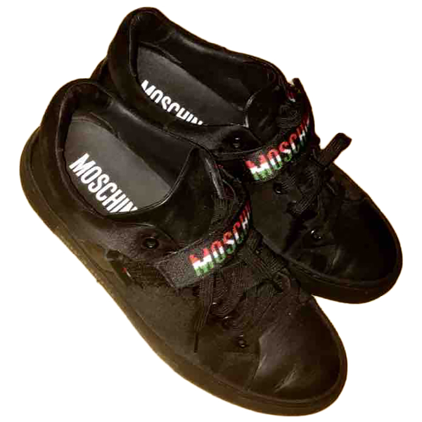 Moschino Black Leather Trainers