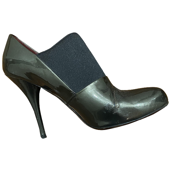 Miu Miu Grey Patent Leather Ankle Boots