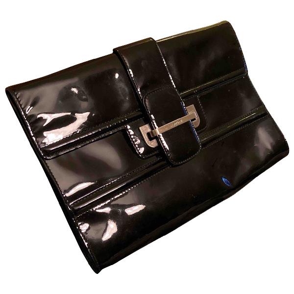 Pollini Black Patent Leather Clutch Bag