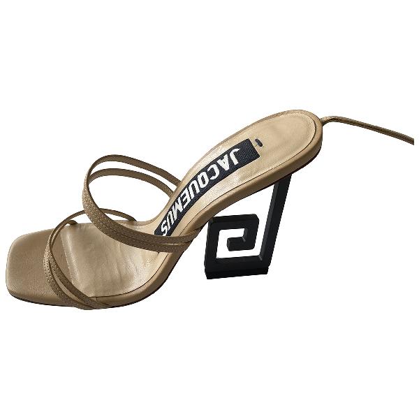 Jacquemus Espiral Beige Leather Sandals