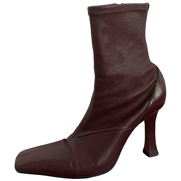 Celine Burgundy Leather Boots