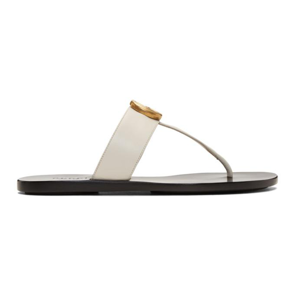 Gucci Marmont Logo-embellished Leather Sandals In Ivory