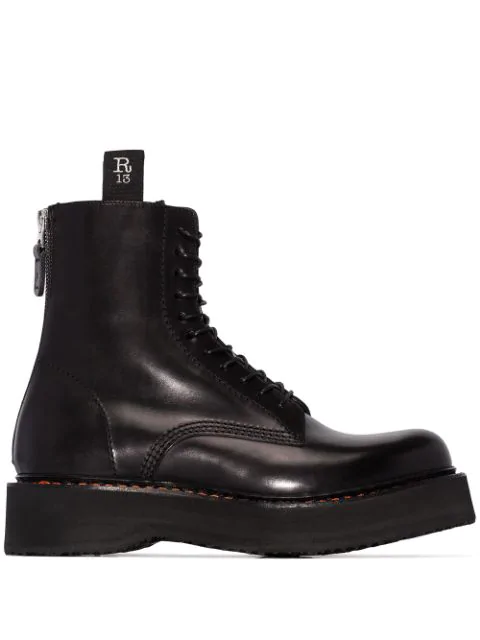 R13 Black Double Stack Lace-up Leather Boots In 0 Black