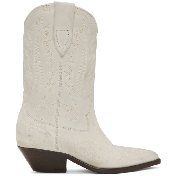Isabel Marant Duerto Texan Ankle Boots In White Leather In 20wh White
