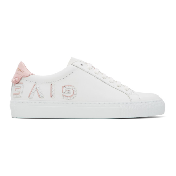 Givenchy White & Pink Urban Street Reverse Logo Sneakers In White/peony
