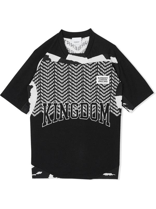 Burberry Teen Kingdom Print Mesh T-shirt In Black