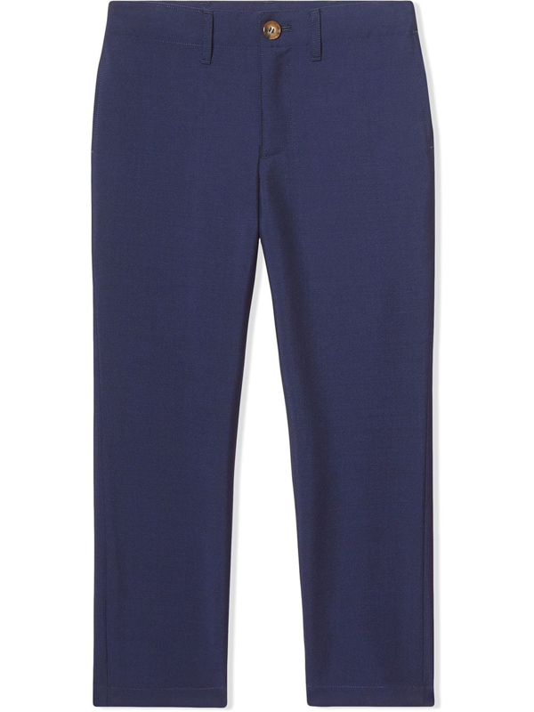 Burberry Teen Wool Mohair Tailored Trousers In Blue