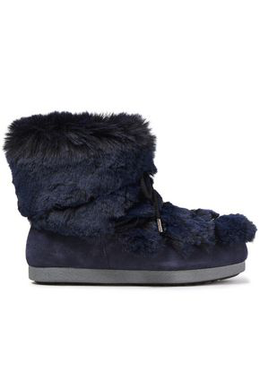 Moon Boot Lace-up Suede And Faux Fur Snow Boots In Royal Blue