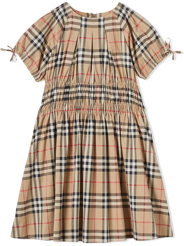 Burberry Kids' Beige Cotton Archive Check-print Dress