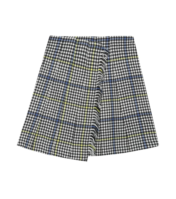 Burberry Kids' Wool Tartan Skirt In Black