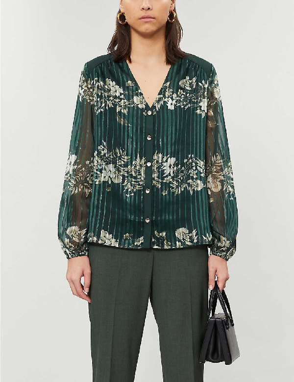 Ted Baker Eveliin Floral-print Metallic Crepe Shirt In Dk-green