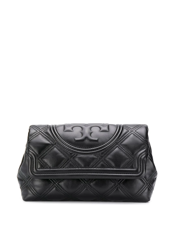 Tory Burch Fleming Soft Quilted Leather Clutch In Black