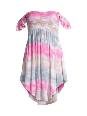 Tiare Hawaii Women's Hollie Off-the-shoulder Tie-dye Dress In Island Pink