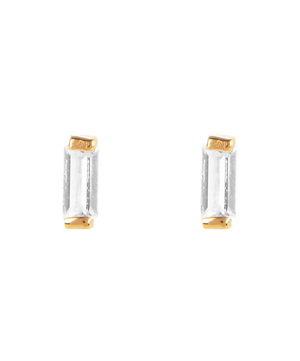 The Uniform Gold-plated Baguette White Topaz Stud Earrings