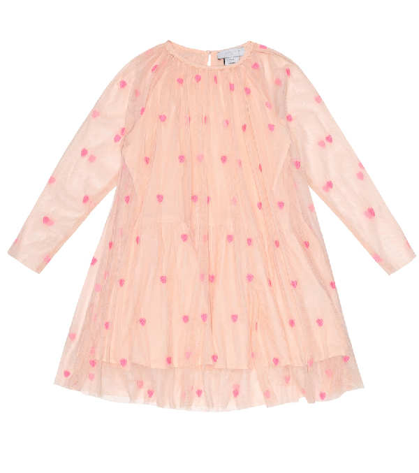Stella Mccartney Kids' Girl's Embroidered Hearts Long-sleeve Tulle Dress In Pink