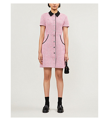 Maje Houndstooth Tweed Button-front Mini Dress In Fuchsia