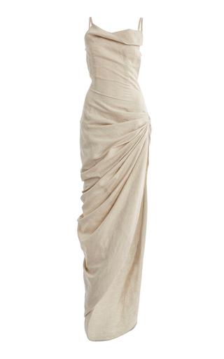 Jacquemus Saudade Gathered Cotton-blend Maxi Dress In Neutral