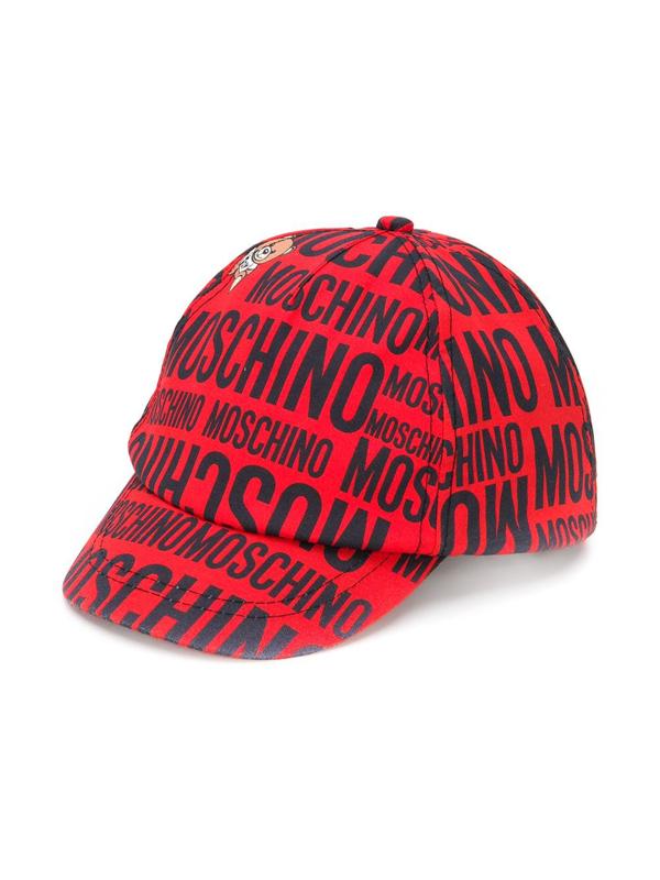 Moschino Kids' Logo-print Teddy Bear Hat In Red