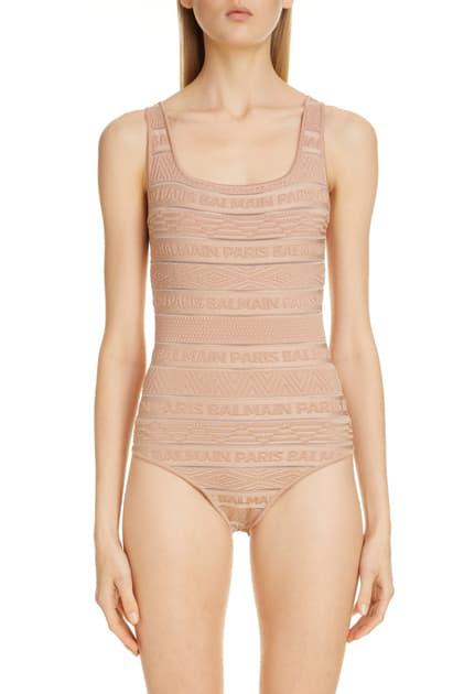 Balmain Sheer Logo Stripe Jacquard Bodysuit In Neutrals