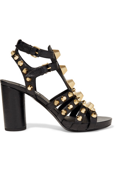 Balenciaga Studded Chunky-Heel Cage Sandal, Black (Noir) In These Dark-Grey Leather Shoes Have An Open Toe