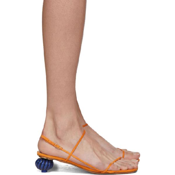 Jacquemus 'les Sandales' Asymmetric Heel Strappy Sandals In Orange
