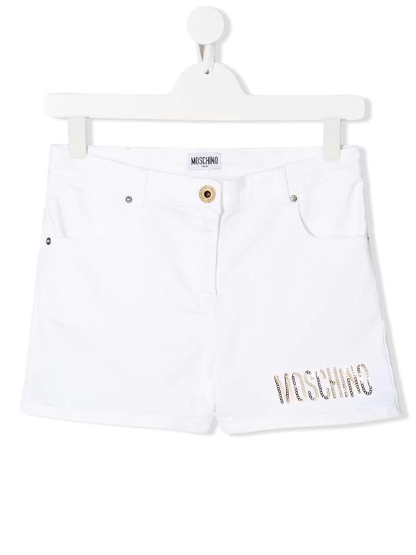 Moschino Teen Sequin-logo Shorts In White