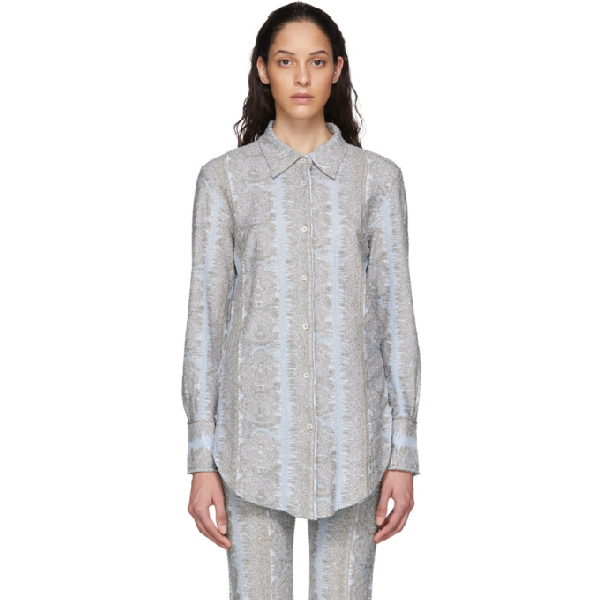 Acne Studios Lurex-jacquard Jersey Shirt Light Blue