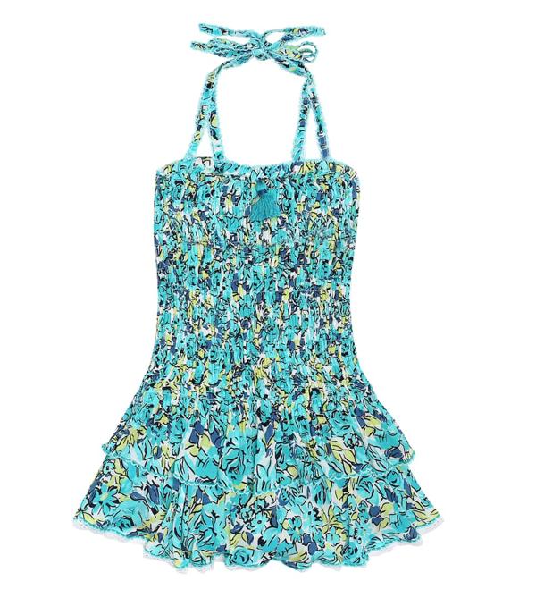 Poupette St Barth Kids' Little Girl's & Girl's Yoana Floral Smocked Halter Dress In Blue