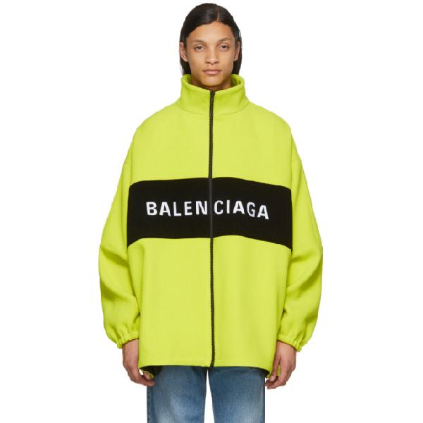 Balenciaga Neon Yellow Logo Printed Jacket In 7204 Fluo