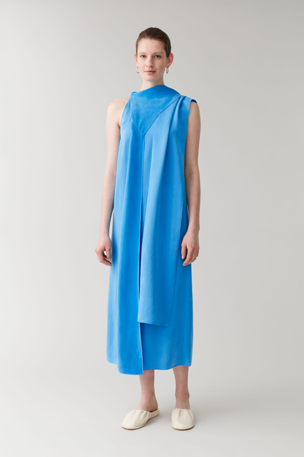 Cos Draped Neck-tie Dress In Blue