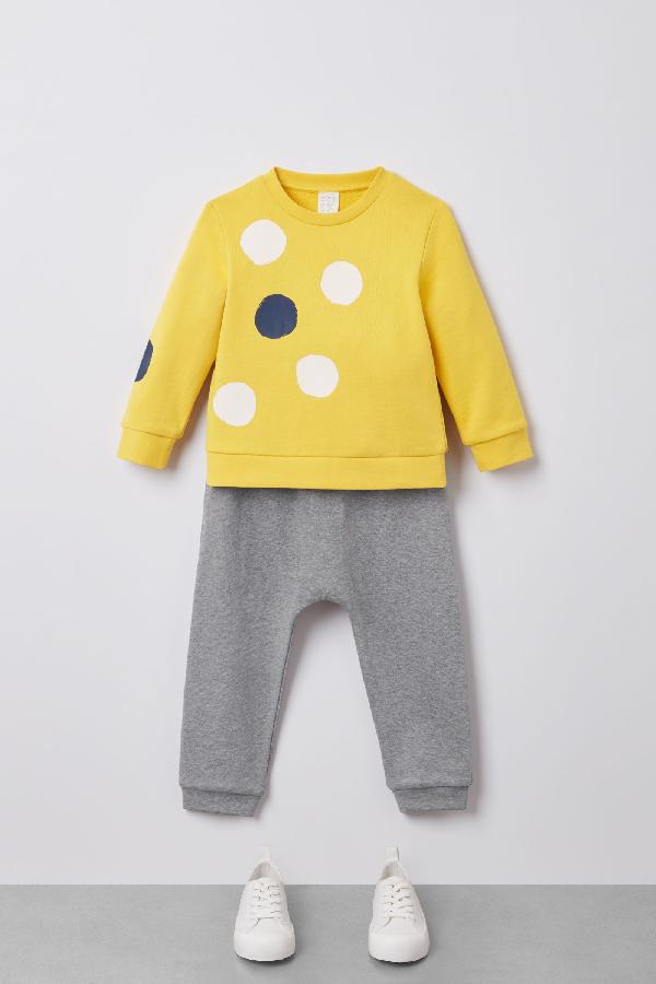 Cos Kids' Dot-printed Cotton Sweatshirt In Yellow
