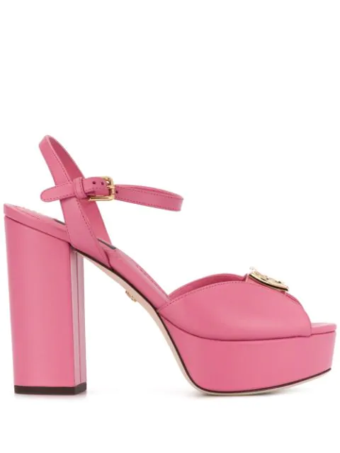 Dolce & Gabbana Calfskin Sandals With Wedge And Dg Logo In Pink