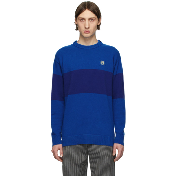 Loewe Anagram Embroidered Stripe Wool Sweater In 5931 Blue/e
