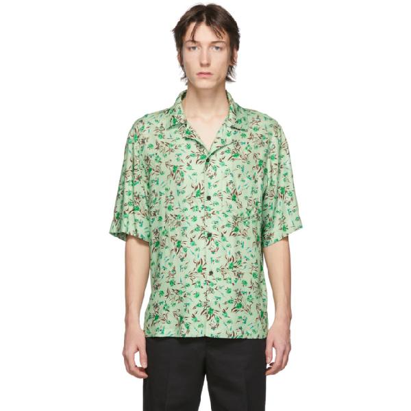 Acne Studios Short-sleeved Flower-print Shirt Pastel Green