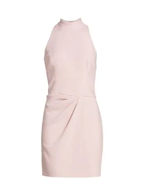 Halston Women's Sleeveless Drape Front Sheath Dress In Barley Pink