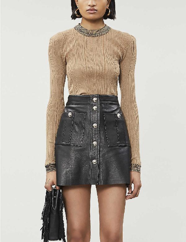 Maje Jeate Leather Stud Mini Skirt In Black