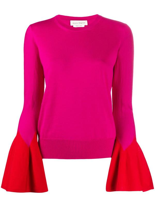 Alexander Mcqueen Flared-sleeve Knit Jumper In Pink