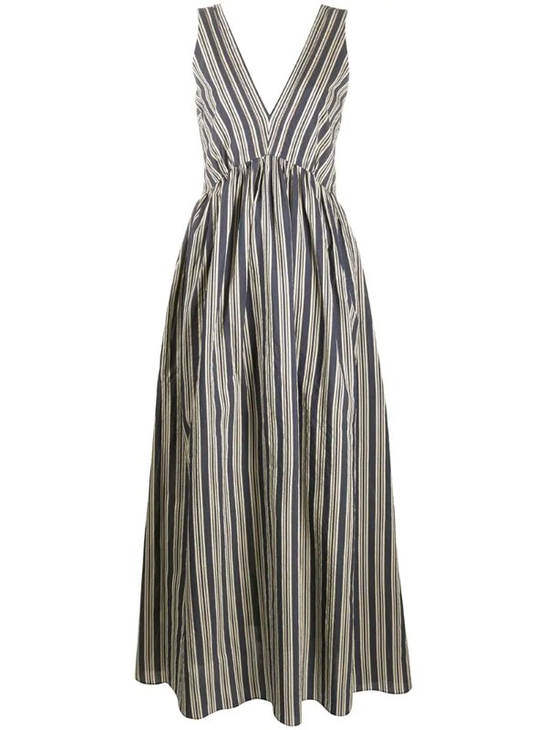 Brunello Cucinelli Striped Maxi Dress In Blue
