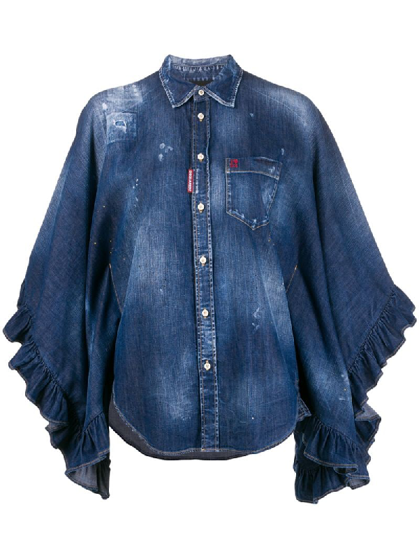 Dsquared2 Lilou Poncho Inspired Denim Shirt In Blue