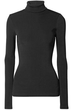 Goldsign Ribbed Cotton-blend Jersey Turtleneck Top In Black