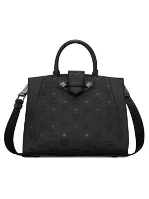 Mcm Women's Essential Monogrammed Leather Top Handle Bag In Black