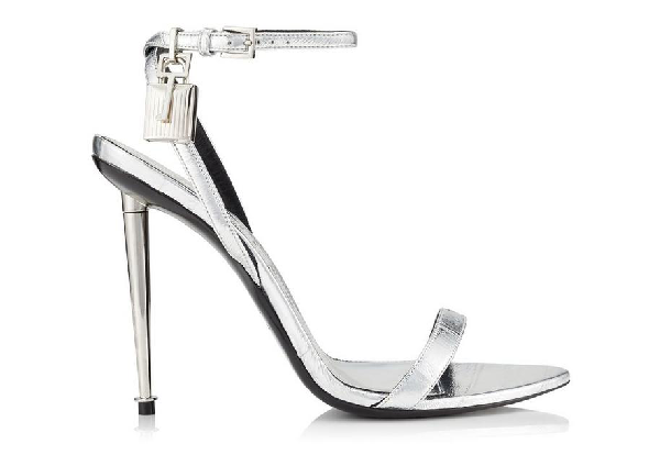 Tom Ford Padlock Embellished Metallic Eel Sandals In Silver